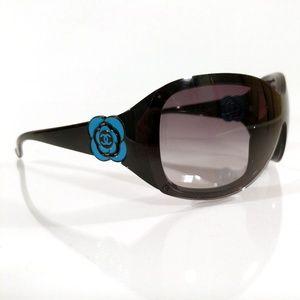 3129edda55ed Chanel 6032 Black +Blue Camellia Flower Sunglasses